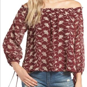 ASTR Burgundy Embroidered Off the Shoulder Shirt